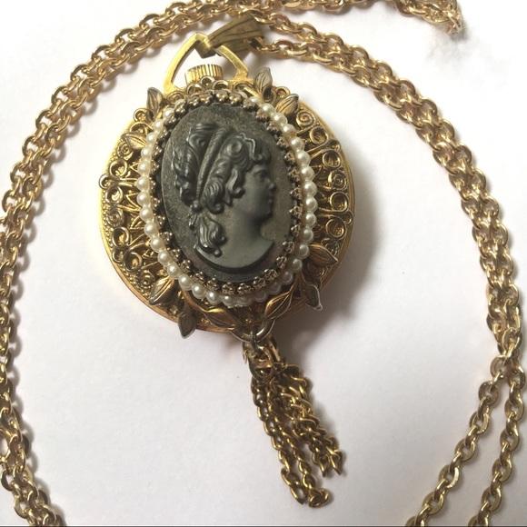 vintage watch pendant Cameo